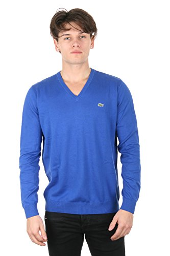 Lacoste Mens Tricot Encolure V Electric Blue/Flour Ah8591-51 Size Xl