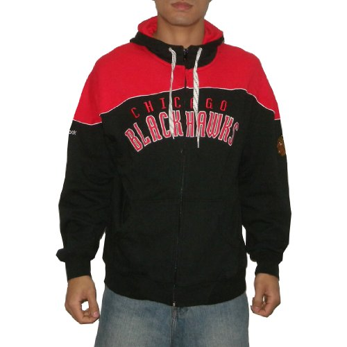 NHL Chicago Blackhawks Mens Athletic Warm Zip-Up Hoodie / Sweatshirt Jacket with Embroidered Logo (Size: 2XL)