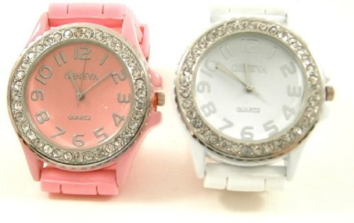 pink-white-2-pack-geneva-crystal-rhinestone-large-face-watch-with-silicone-jelly-link-band