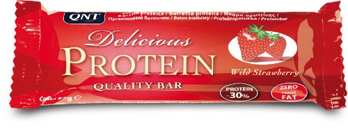 QNT Delicious Protein 35 g Wild Strawberry Muscle Recovery and Energy Snack Bars - Box of 24