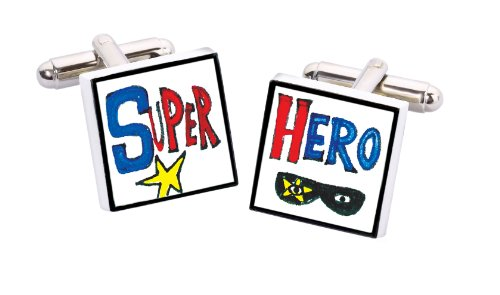 Sonia Spencer England England Bone China Square Silver Plated Back Hand Decorated Super Hero Cufflink