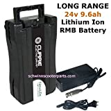 24 Volt RMB Lithium Ion (LiFePO4) LONG RANGE 9.6Ah Battery Pack & Charger Included for Currie, Ezip & Izip Electric Bicycles