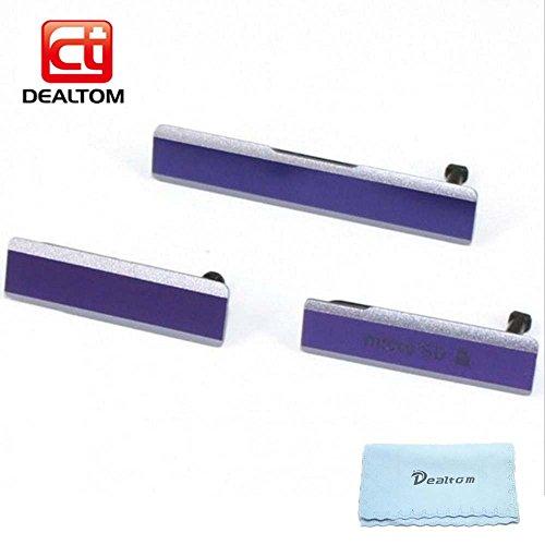 Z1 L39H Port Cover Cap, DealTom(TM) Micro SD USB Sim Card Slot Port Dustproof Cover Caps Plug For Sony Xperia Z1 L39h C6903 + DealTom Cloth (Purple) (Sony Z1 Replacement Parts Purple compare prices)