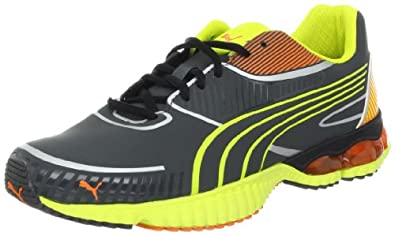 PUMA Men's Braca Running Shoe,Dark Shadow/Fluorescent Yellow/Flame,7.5 D US