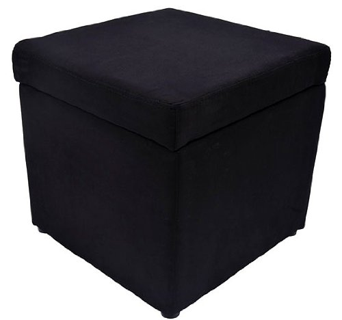 HomCom Micro Fiber Storage Ottoman / Foot Stool - Black