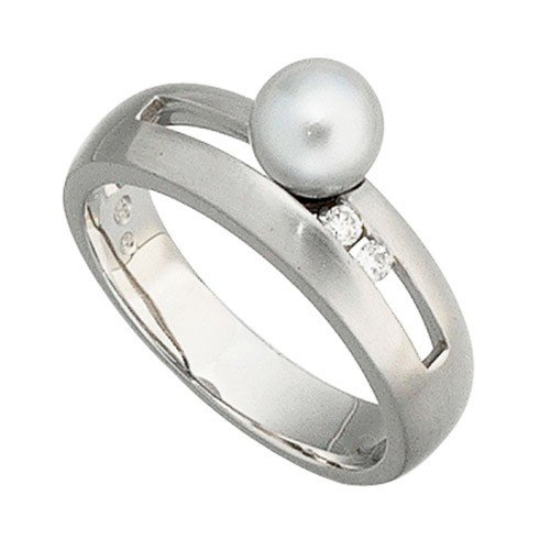 Women's Ring with akoya pearls grey, 585 white gold 23 mm