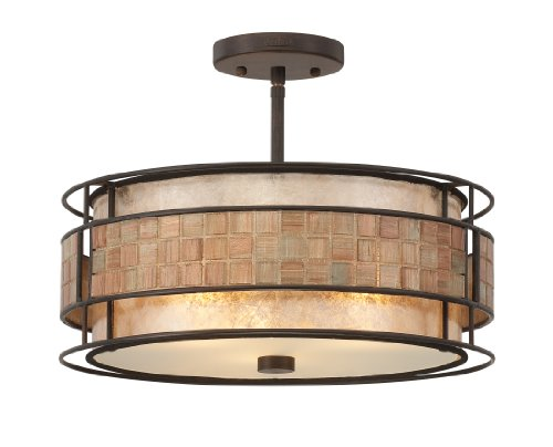 B0057XXKJI Quoizel MC842SRC Mica 3 Light Semi Flush Mount Lamp