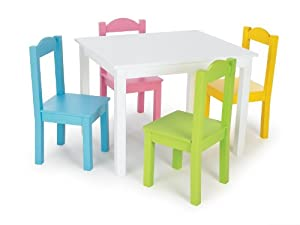 Amazon com tot tutors kids table and 4 chair set pastel wood