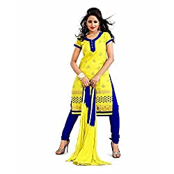 Vardhman Synthetics Women's Embroidered Unstitched Straight Dress Material (Mehandi_Free Size)