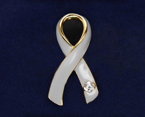 Gray Ribbon Pin- Large Ribbon with Crystal (36 Pins)