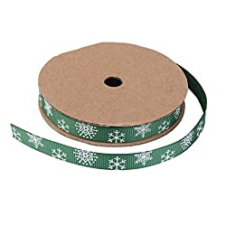 Imported 5 Yard 10mm Christmas Grosgrain Ribbon Sewing Craft Snowflake Print- Green