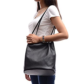 YOUNA Ladies Hobo PU Leather Bucket Tote Top-handle Handbag Shoulder Purse 2