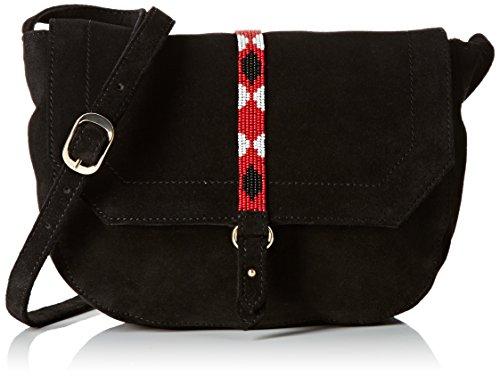 Petite Mendigote Sumika - Borsa a spalla, Nero (Noir (Beads Black)), Taille Unique