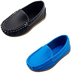 DADAWEN Boy\'s Girl\'s Slip-on Loafers Oxford Shoes Black/Blue US Size 7 M Toddler