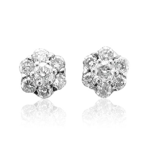 14k White Gold Cluster Diamond Earrings Studs (HI, I1, 0.50 carat)