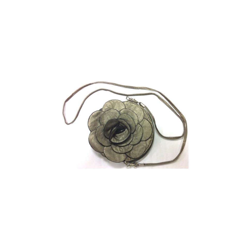 Rare Handmade Designer Raised Flower Purse Round shaped Adjustable Strap Bag Pouch Wristlet Rose Wallet Handbag Pewter Color Clutch Faux Leather Tote Chic 3D Flower with Adjustable Strap