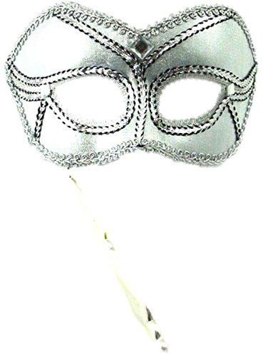 erdbeerloft - Damen Maske mit Stab, Maskenball, Maskerade, Kostümball, Silber