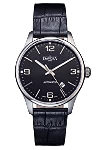 Davosa Gentlemen's Automatic Watch with Black Dial Analogue Display and Black Leather Strap 16151054