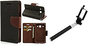 Generic Goospery Mercury Diary Flip Cover for Samsung Galaxy A7 (Brown) With Aux Selfie Stick