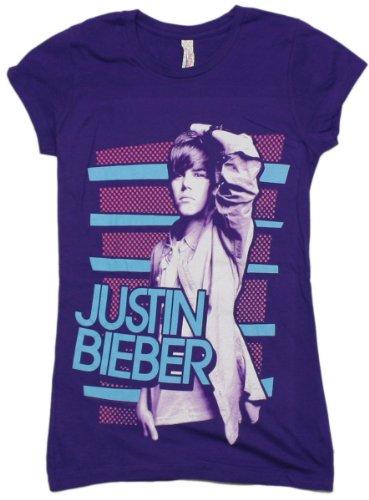 Justin Bieber Dots & Stripes Juniors S/S T-Shirt In Purple, Size: Small, Color: Purple