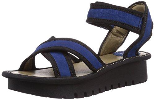 Fly London KUT, Sandali donna, Multicolore (Mehrfarbig (Blue (Black) 003)), 39