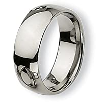 Chisel Rounded Polished Titanium Ring (8.0 mm) - Sizes 6-13.5