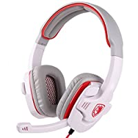Sades 3.5mm Wired Gaming Headset with Microphone for Games PC Tablets Computer Cell Phones (white)