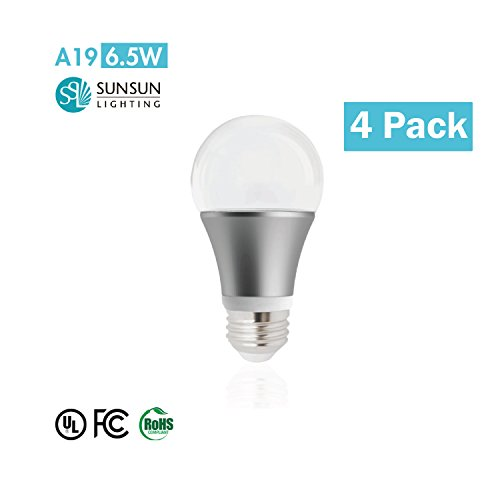 Pkg. Of 4 Sunsun Lighting A19 Led Light Bulb, 6.5W (40W), 450Lm Soft Warm White, (3000K) Dimmable