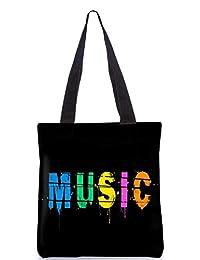Snoogg Music Digital Digitally Printed Utility Tote Bag Handbag Made Of Poly Canvas