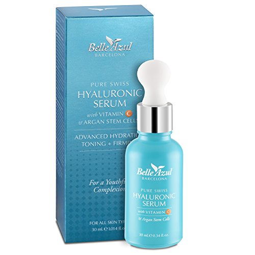 Belle Azul Siero viso Acido Ialuronico puro anti-invecchiamento con Vitamina C e Cellule Staminali Di Argan. Idratante, tonificante e rassodante. Ideale contorno occhi. Aiuta a ridurre le rughe - 30 ml