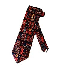 Museum Artifacts Mens Library Book Shelves Necktie - Red - One Size Neck Tie