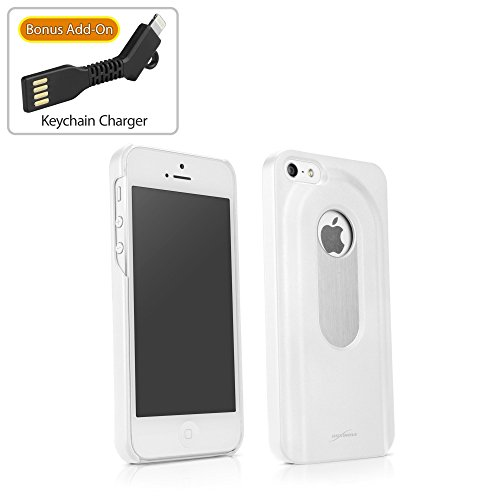iPhone SE Case, BoxWave® [DrinkMate Case with BONUS Keychain Charger] Novelty Phone Cover with Retractable Bottle Opener for Apple iPhone SE, 5s, 5 - Winter White (Bottle Opener Phone Charger compare prices)