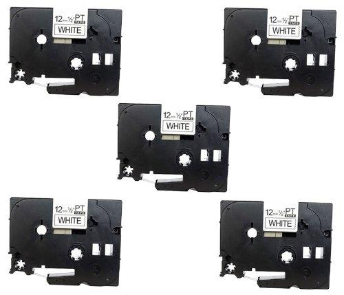 5-x-compatibile-brother-p-touch-tze231-tz231-nastro-laminato-nero-su-bianco-black-on-white-12mm-x-8m