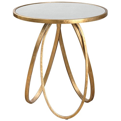 Tiff Hollywood Regency Antique Mirror Gold Oval Ring End Table (Old Hollywood Table compare prices)