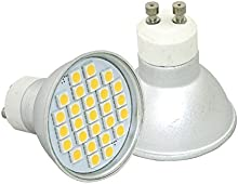 1x 5W GU10230V LED bombilla-y 450lúmenes-3000Kelvin--Bombilla para foco-Interior y Exterior
