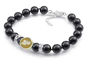 Purdue Boilermakers Black Pearl Bracelet Jewelry. Officially Licensed High Quality by Collegiate Beads