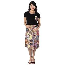 MomToBe Maternity Dress Black Multi Print (mohbkmd1094-l_Black_Large)