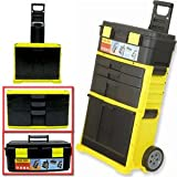 MOBILE WORK SHOP 2 IN 1 TOOL BOX CHEST TROLLEY CART STORAGE ON WHEELS ROLLER NEW