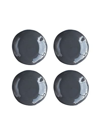 Be Home Set of 4 Slate Ceramic Medium Plates, Grey