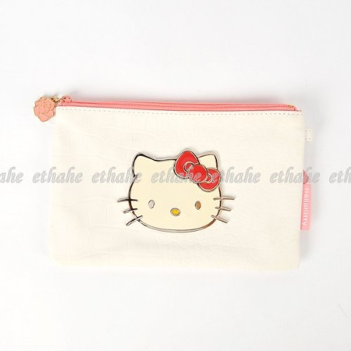 Hello Kitty Flat Cosmetic Case Makeup Bag White