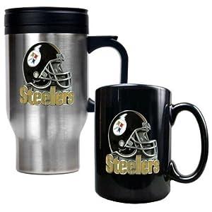 Pittsburgh Steelers Stainless Steel Travel Mug & Black Ceramic Mug Set from SteelerMania