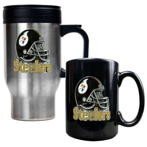 Pittsburgh Steelers Stainless Steel Travel Mug & Black Ceramic Mug Set from SteelerMania