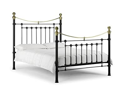 Victoria Black Satin Black Enamelled Finish Real Brass Embellishments Metal Bed With Luxury Spring Mattress: All Sizes Available