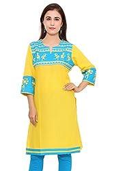 Beautiful Cotton Traditional Womens Kurta (40, Yellow)