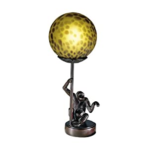 Dale Tiffany 1603 Monkey with Round Ball Accent Lamp, Antique Bronze