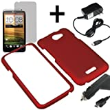 Eagle Hard Shield Shell Cover Snap On Case for AT&T HTC One X + LCD + Car + Home Charger -Red