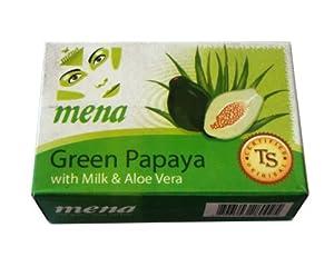 Mena Green Papaya Whitening Soap with Vitamin E (150 Grams)