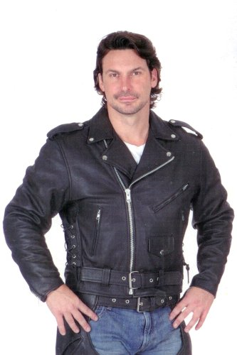 Allstate Leather Men's Basic motorcycle jacket split plain cowhide Leather w/ cell phone pocket AL 2001-66