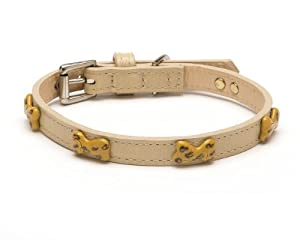 Enamel Leopard Bone Straight Dog Collar, Medium Size 11-14, Bone with Leopard Print Enamel Bones