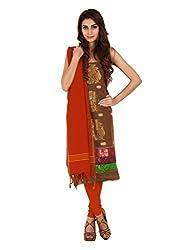 Olive Green Zari Work Cotton Unstitched Fancy Unstitched Dress Material